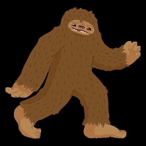 Bigfoot walking cartoon.