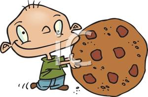 Young Child Holding a Giant Chocolate Chip Cookie Bigger Than.