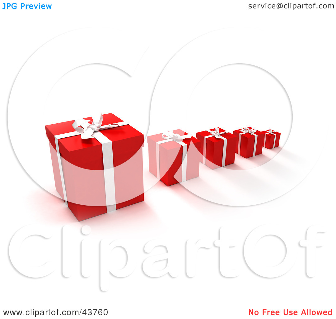 Clipart Illustration of a Row Of Red Gift Boxes With The Biggest.