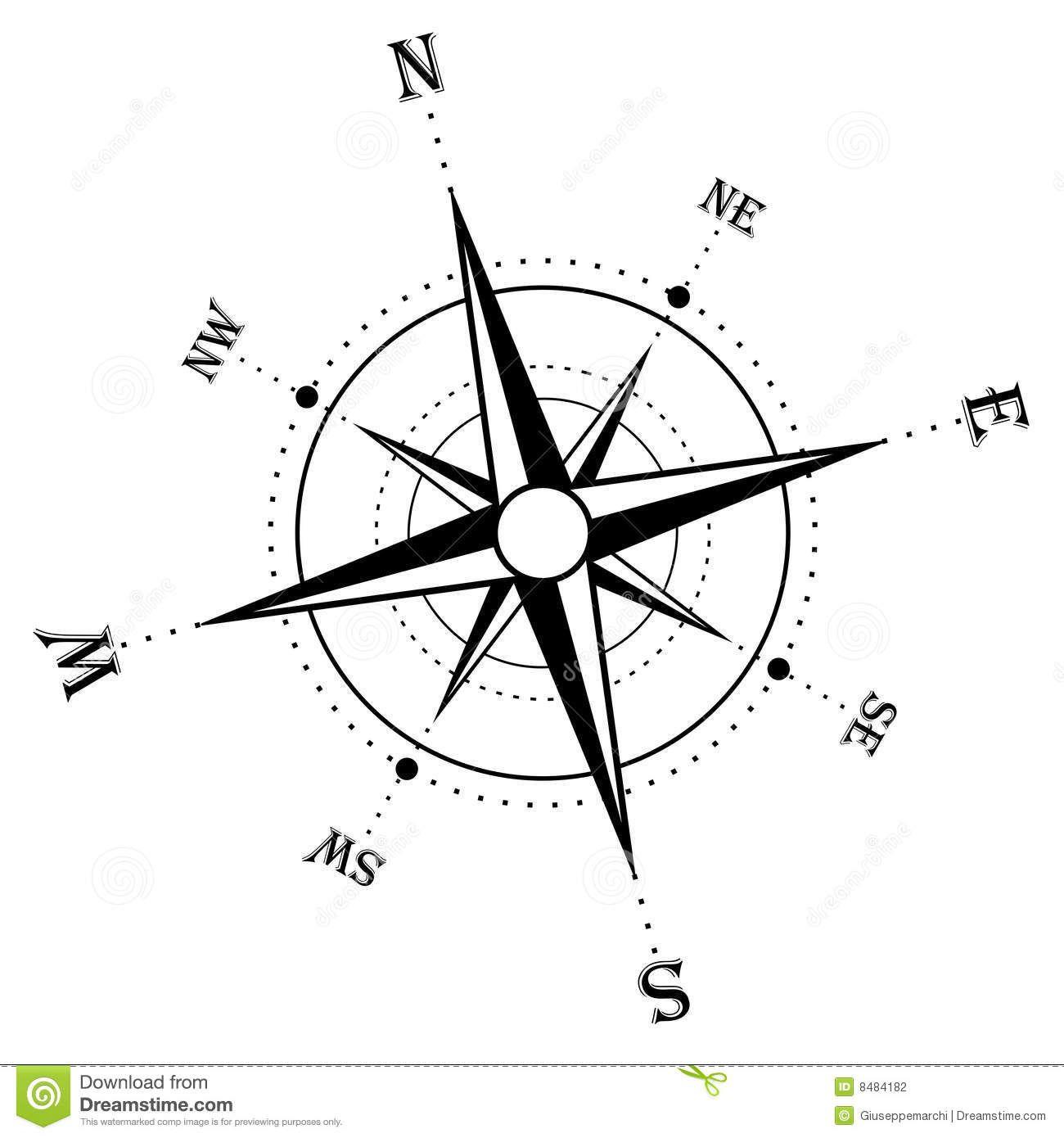 Compass Rose Clip Art Public Domain Compass rose black and.