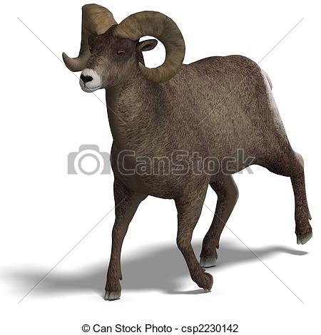 Clip Art of big horn sheep aries.