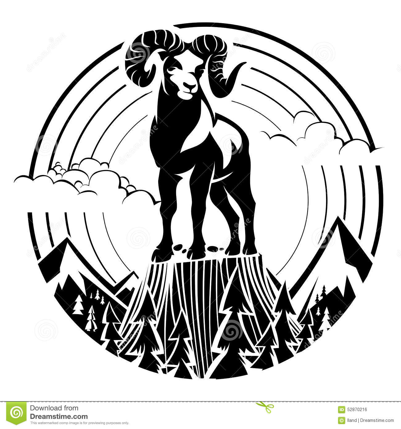 Bighorn sheep head clipart.