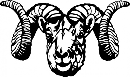 Bighorn sheep skull clipart.