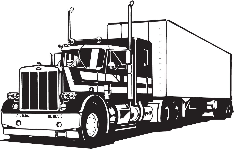 Truck art vector semi truck and trailer illustration tow.