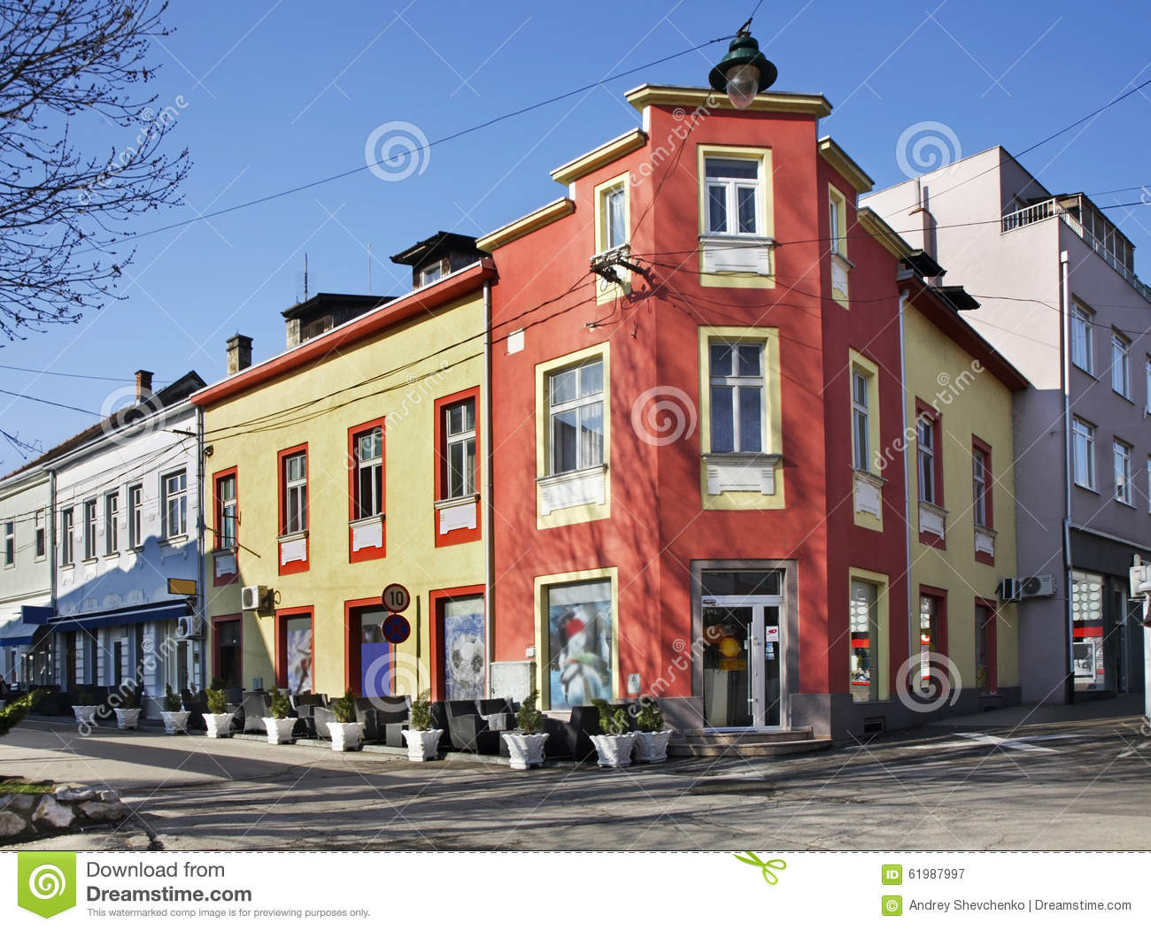 Street In Bihac. Bosnia And Herzegovina Stock Photo.