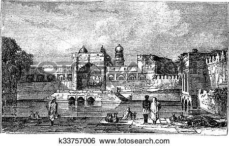 Clip Art of Ruins of Bijapur, in Karnataka, India, during the.