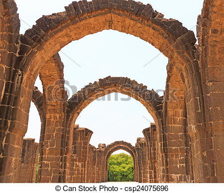 Stock Photographs of aincent arches and ruins bijapur Karnataka.