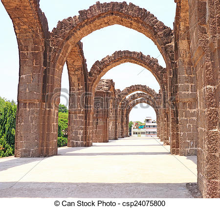 Stock Photography of aincent arches and ruins bijapur Karnataka.