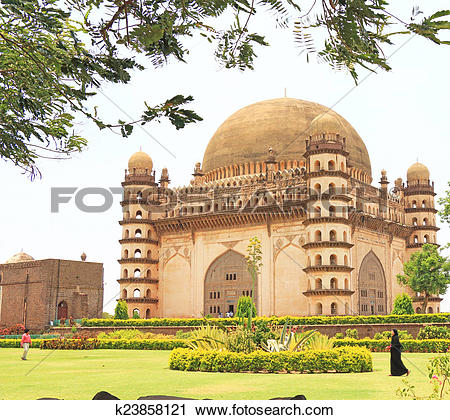 Stock Photography of Gol gumbaz palace and mausoleum bijapur.