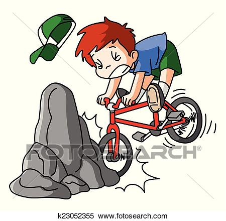 Bicycle accidents Clipart.