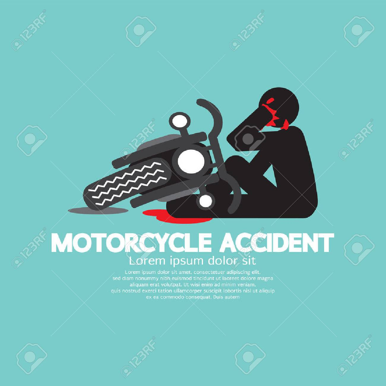 Biker With Motorcycle Have In An Accident Vector Illustration.