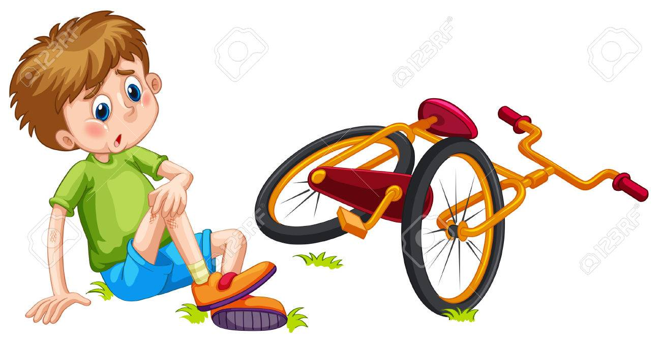 Boy fallen off the bicycle illustration.