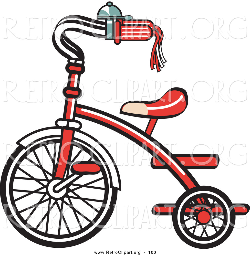 Retro Clipart of a New Red Trike Bike with a Bell on the.