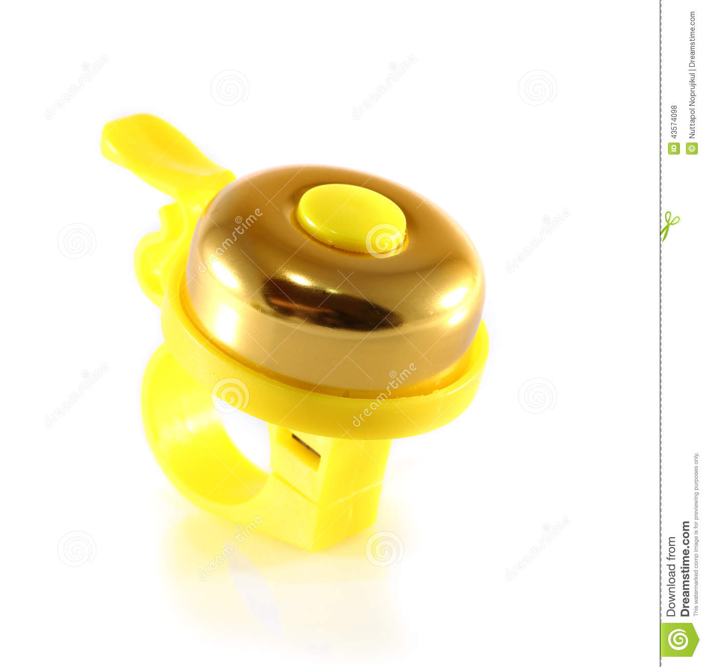 A Bicycle Bell Yellow Stock Photo.