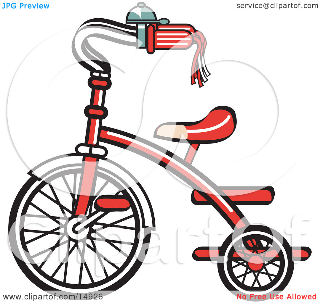 New Trike Bike With A Bell On The Handlebars Retro Clipart.
