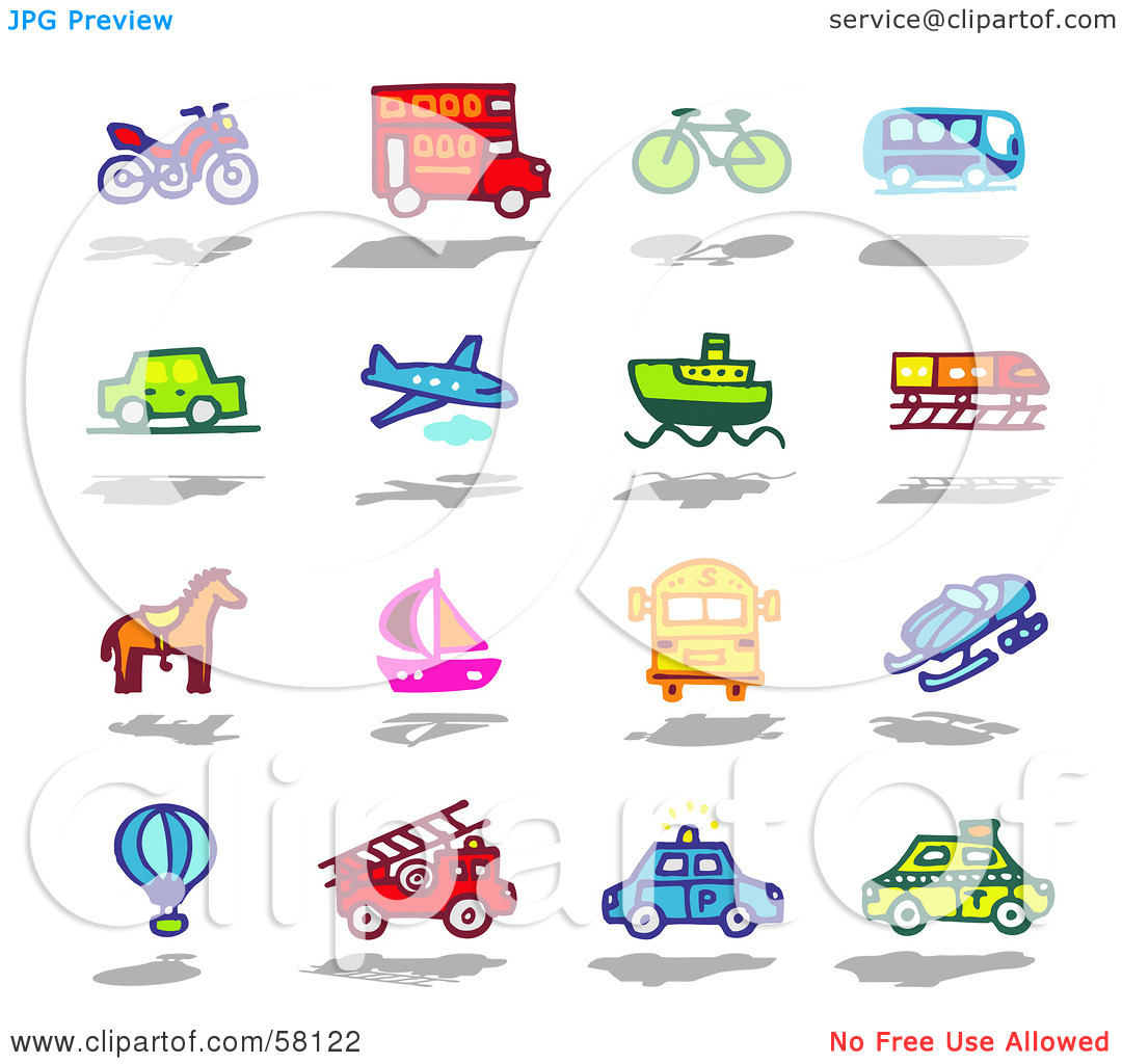 Car bike truck clipart.
