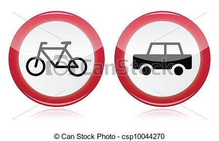 Vectors Illustration of Car and bike icons road signs.