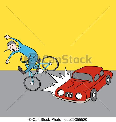 Vector Illustration of Cartoon Car Hits Bike Rider.