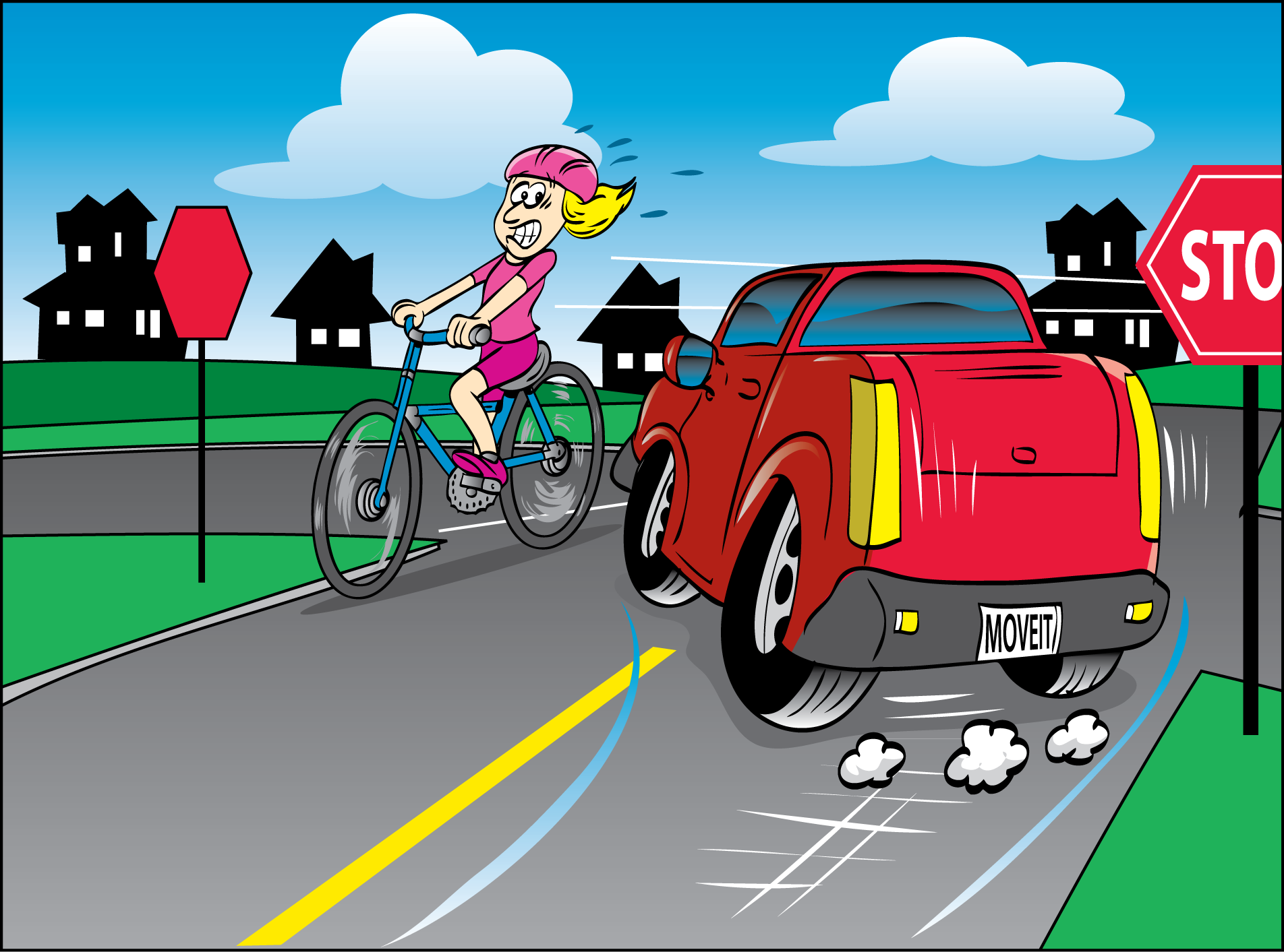 Bicycle crashing into car clipart.