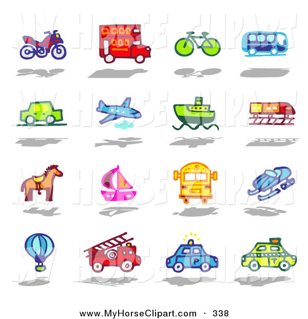 Art of a Digital Set of an Atv, Double Decker Bus, Bike, Bus, Car.