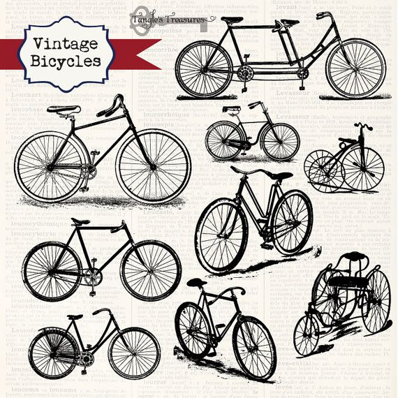 Buy 2 Get One Free!!! Vintage Bicycles Digital Clipart and.