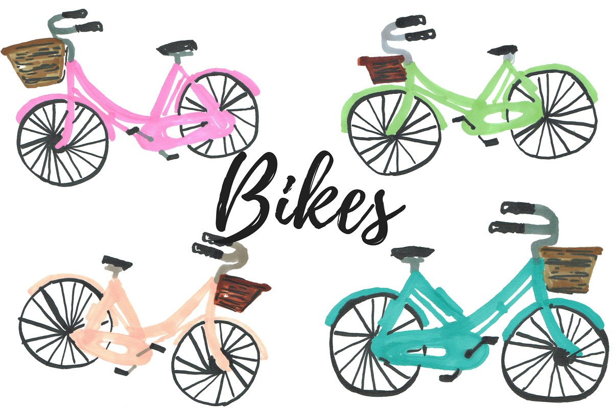 Hand drawn bike, bicycle clipart.