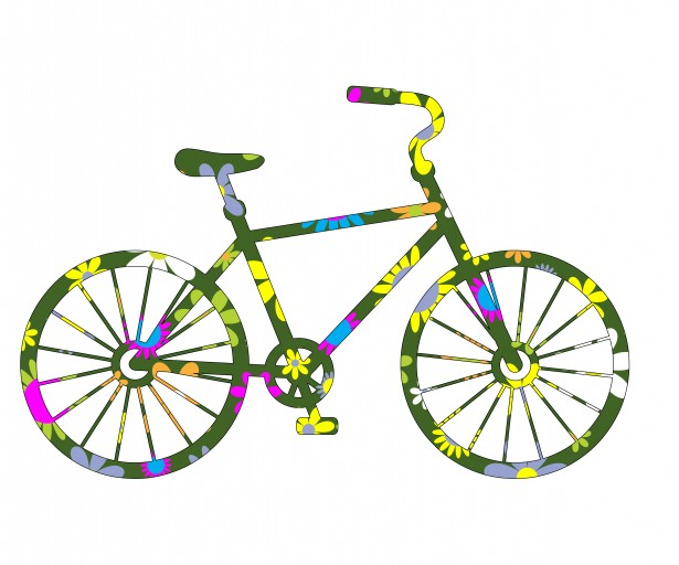 Floral Bicycle Clipart Free Stock Photo.