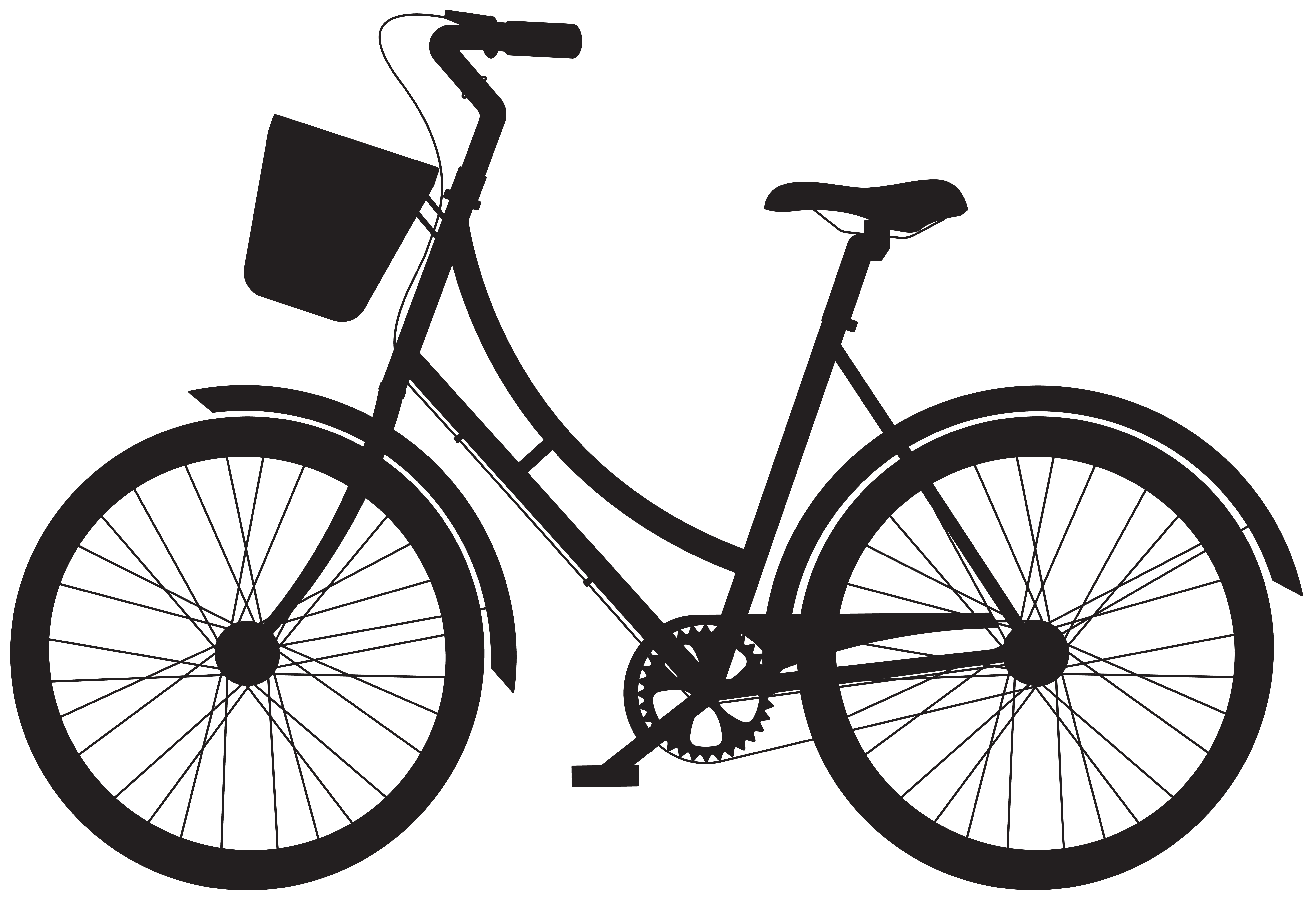 Bicycle with Basket Silhouette PNG Clip Art.