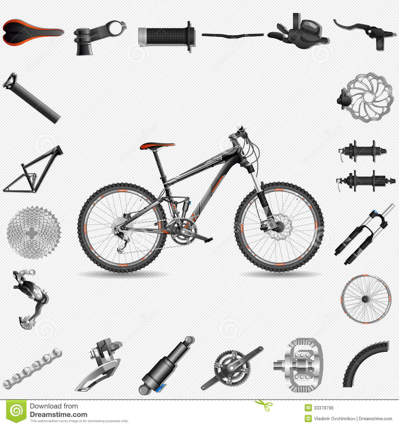 Mountain Bike Component Clipart Clipground Bicycle Anatomy Diagram Full Suspension