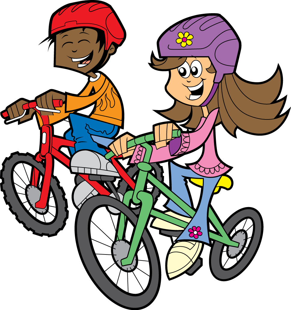 Riding bicycle to school clipart.