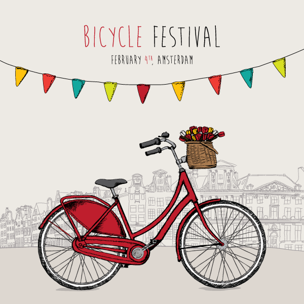 Bike Festival Vector Background.