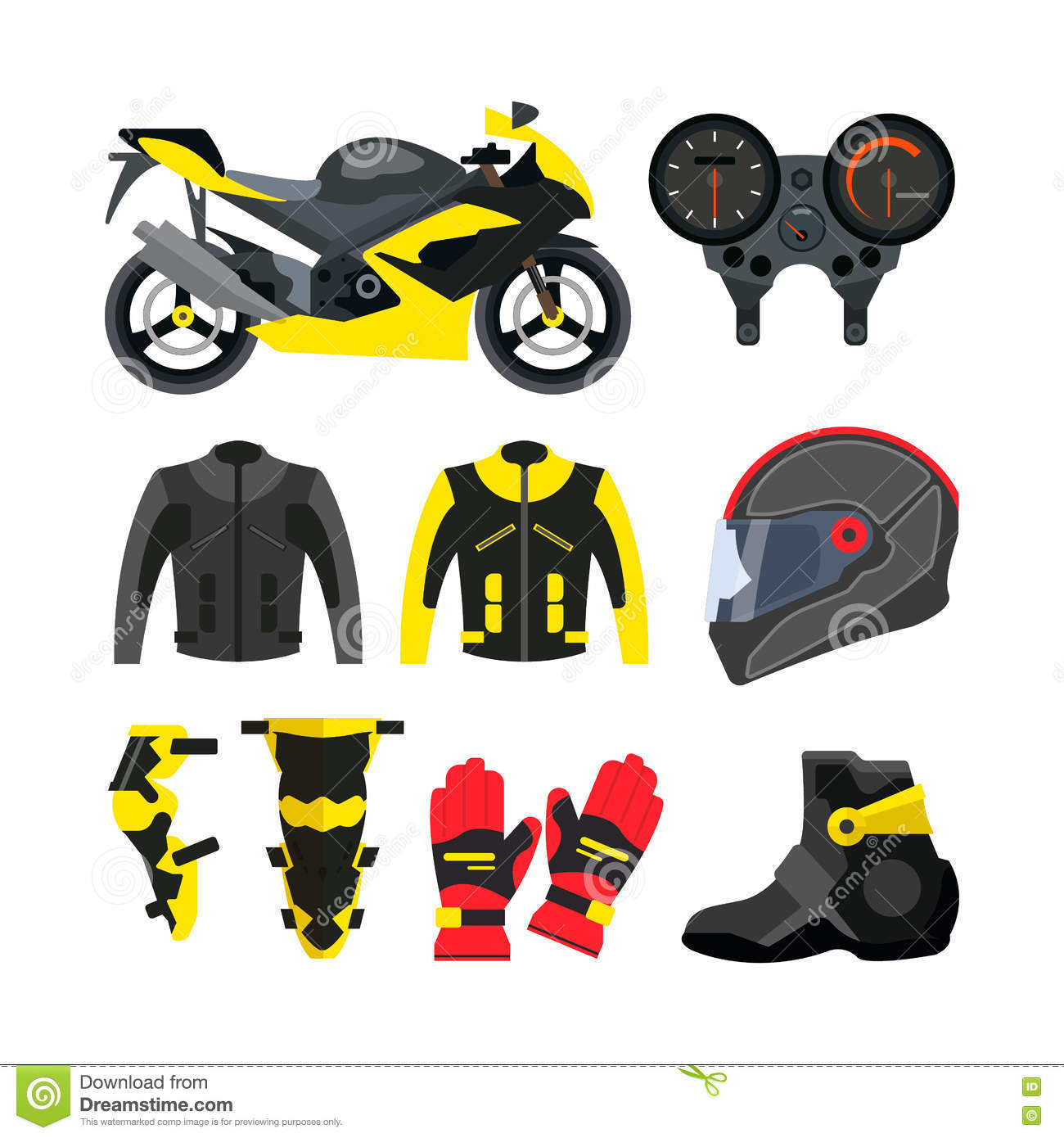 Vector Set Of Motorcycle Accessories. Design Elements And Icons.