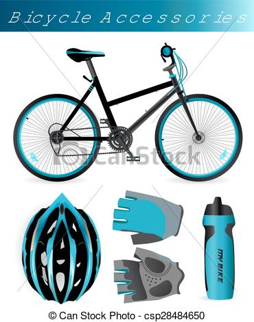 Clipart Vector of Mountain bike with bicycle accessories. Helmet.