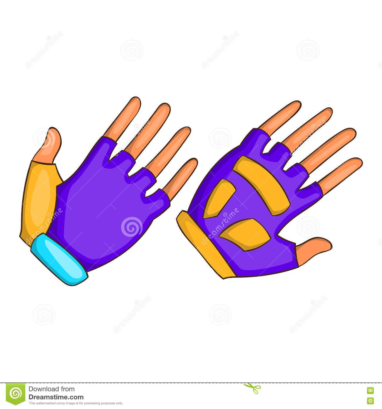 Bike Gloves Icon, Cartoon Style Stock Vector.