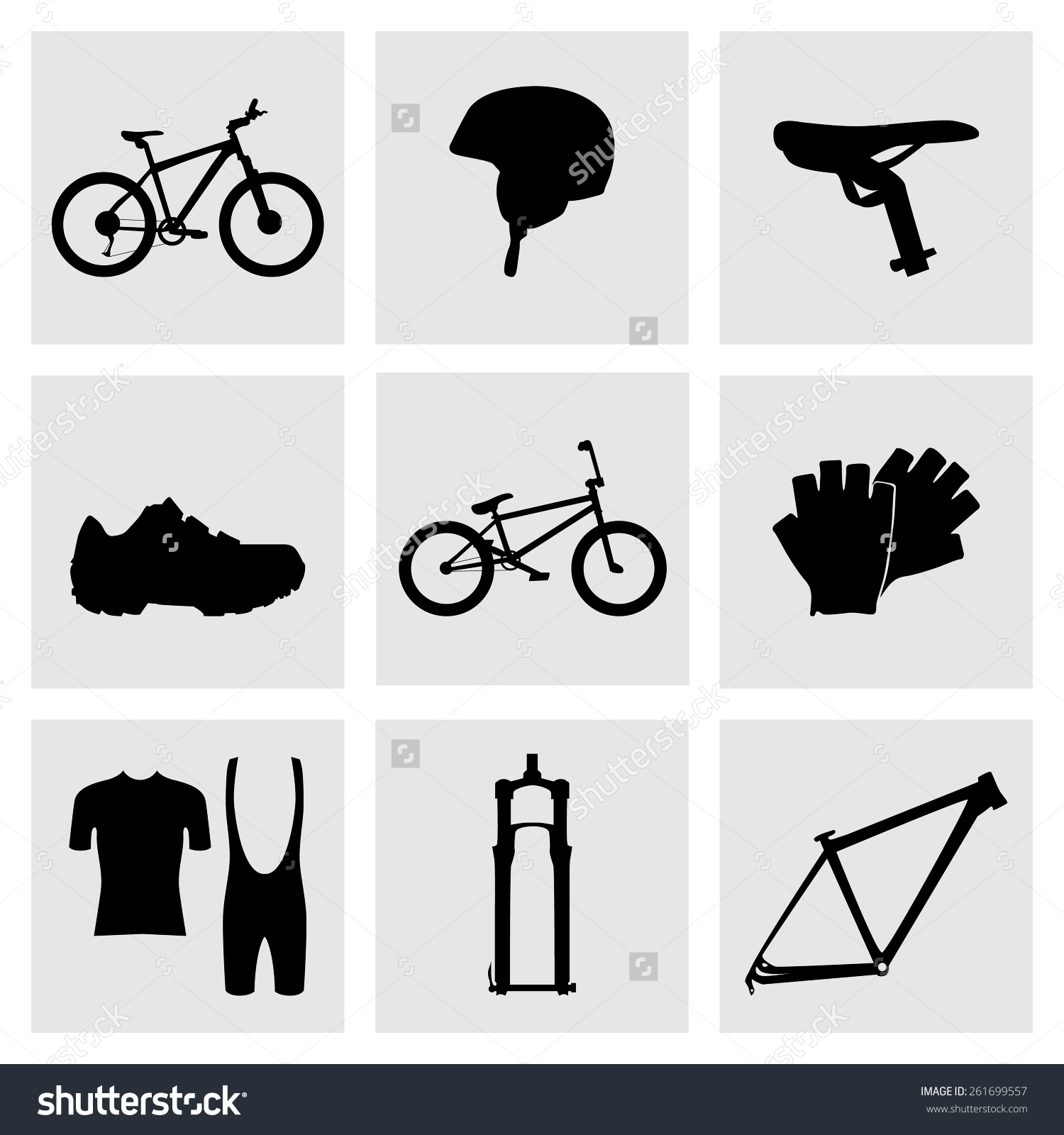 Set Sports Icons Cycling Bike Mountain Stock Vector 261699557.
