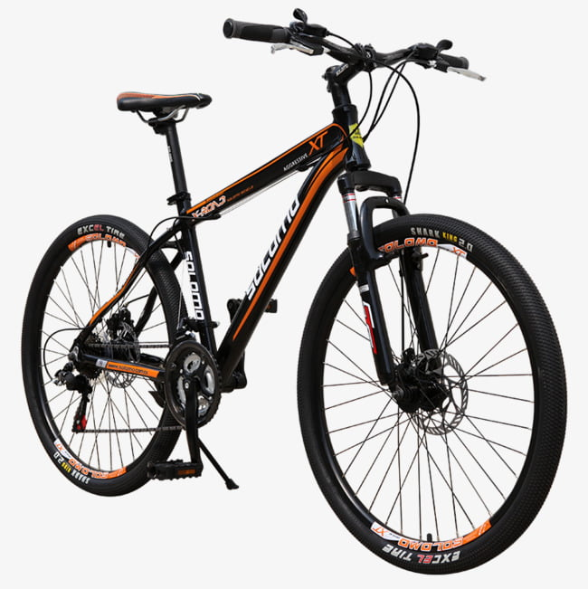 Hd black mountain bike PNG clipart.
