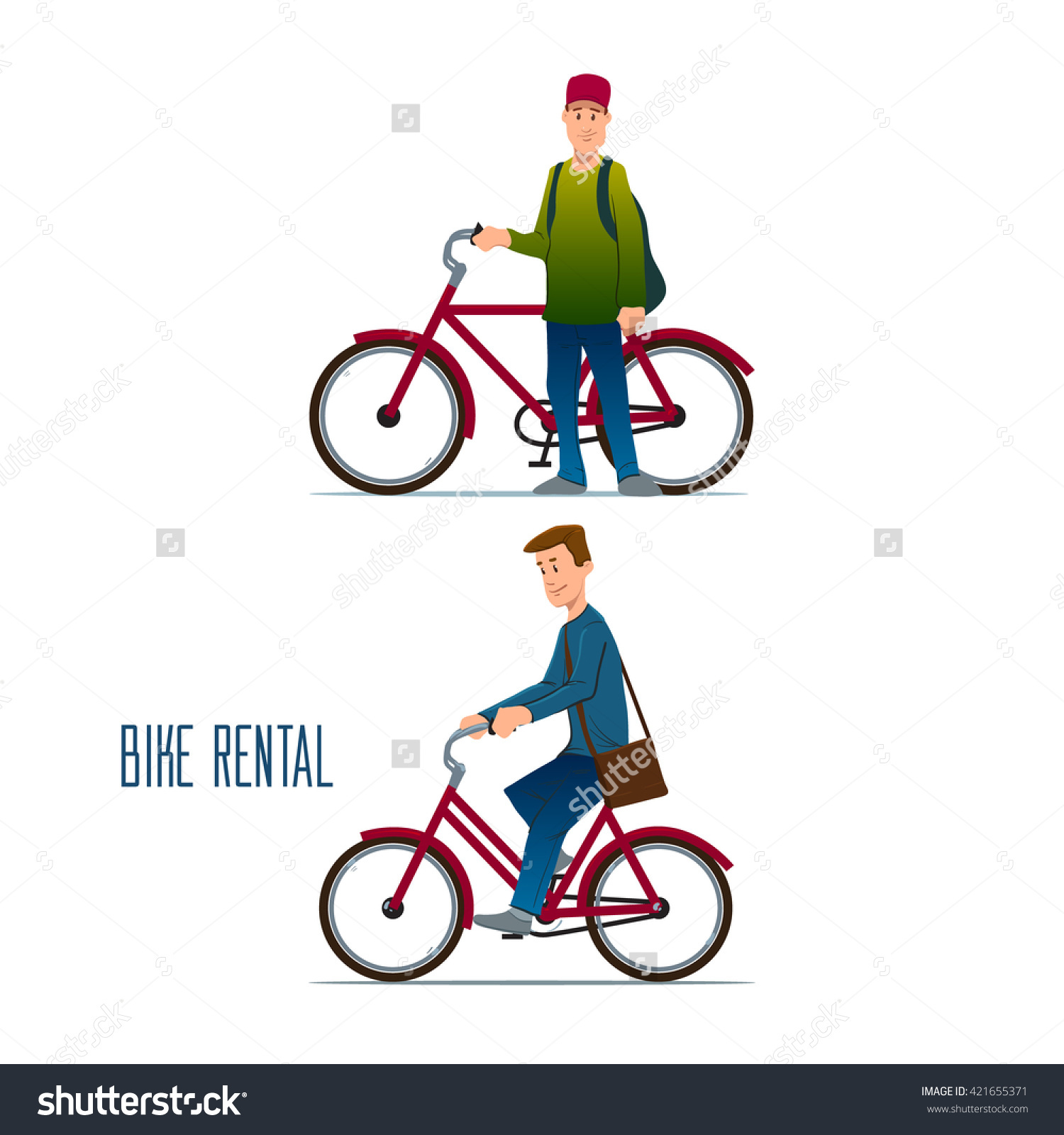 Man Riding Bike, Rental, City Bike Hire Rental, Tours For Tourists.