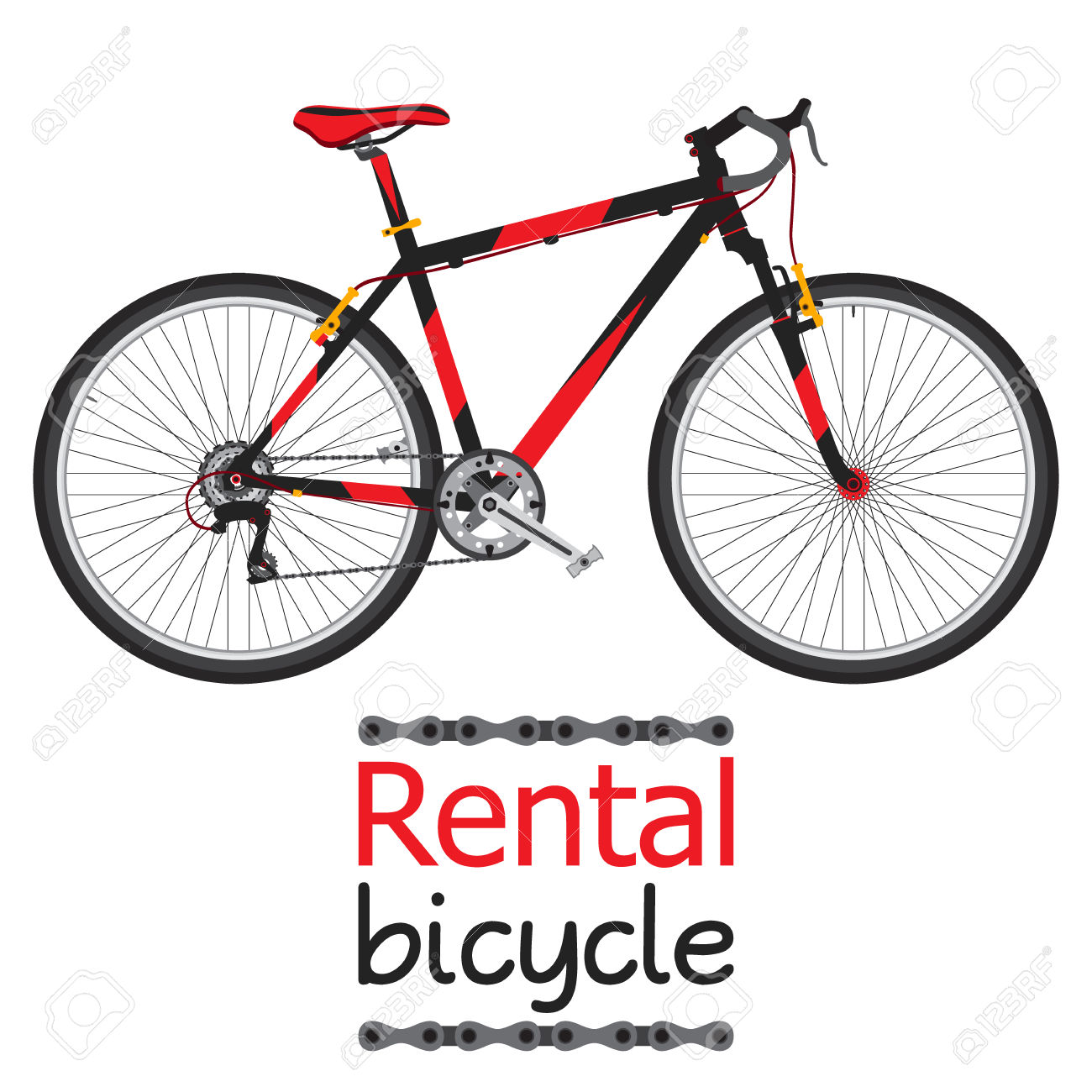 City Bike Hire, Rental Bicycle For Tourists In Flat Style. Royalty.