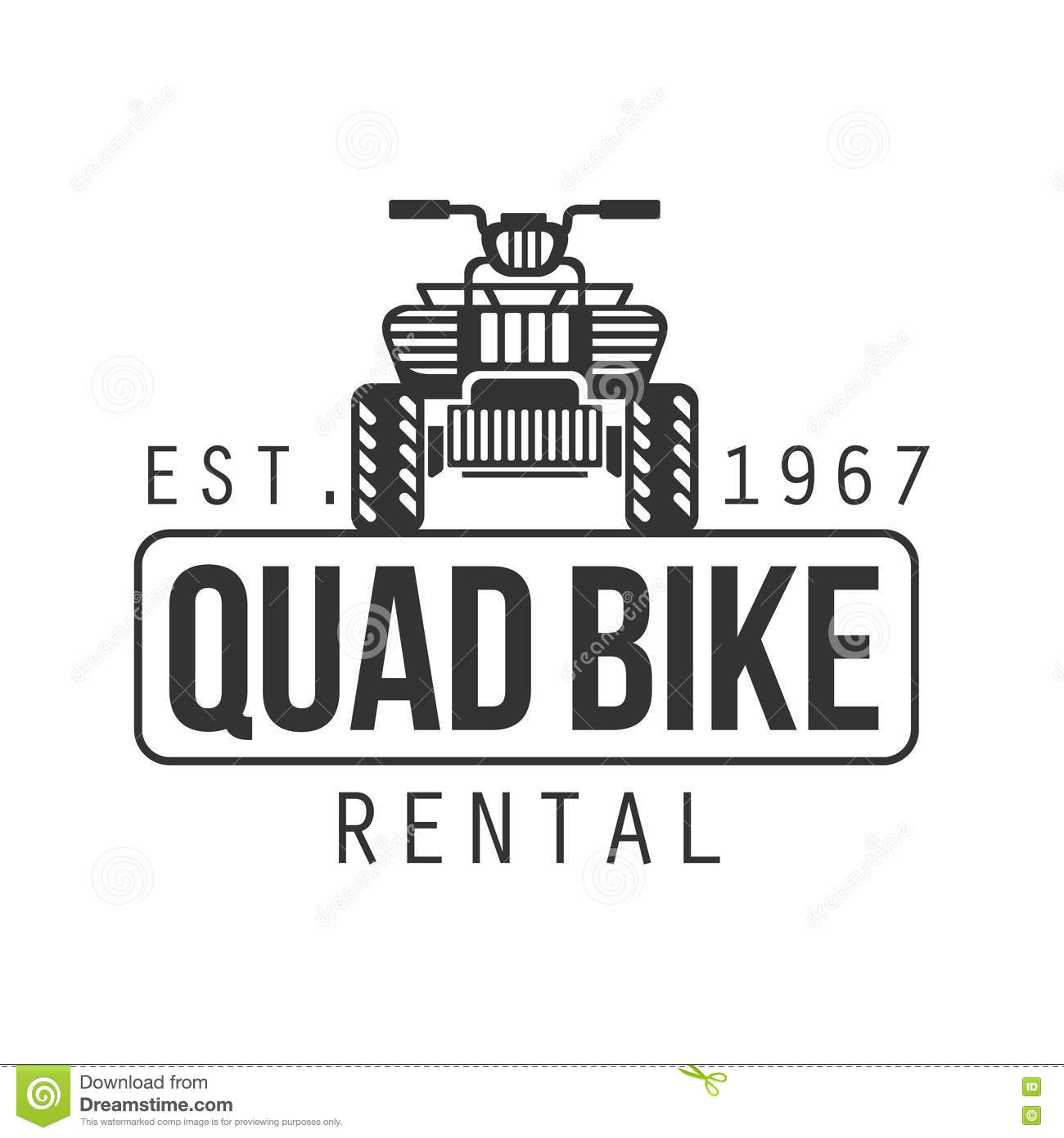 Quad Bike Hire Label Design Black And White Template With Text For.
