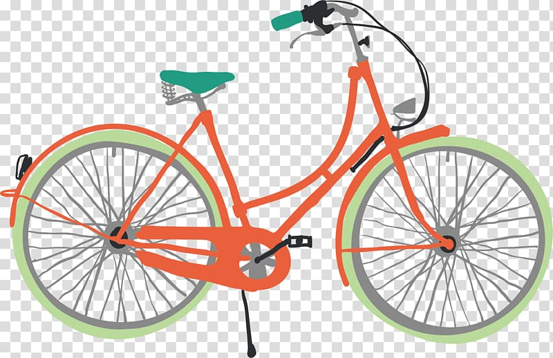 Bicycle Illustration, Cartoon bike transparent background.