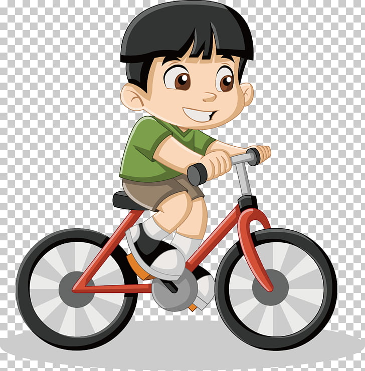 Cartoon Drawing Illustration, Little boy riding a bike , boy.