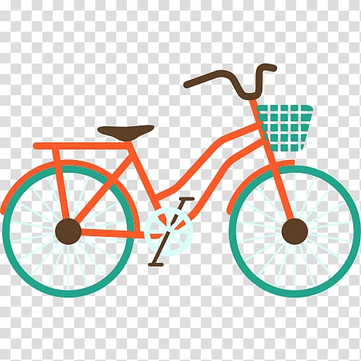 Orange and green city bicycle illustration, Trendy Bike.