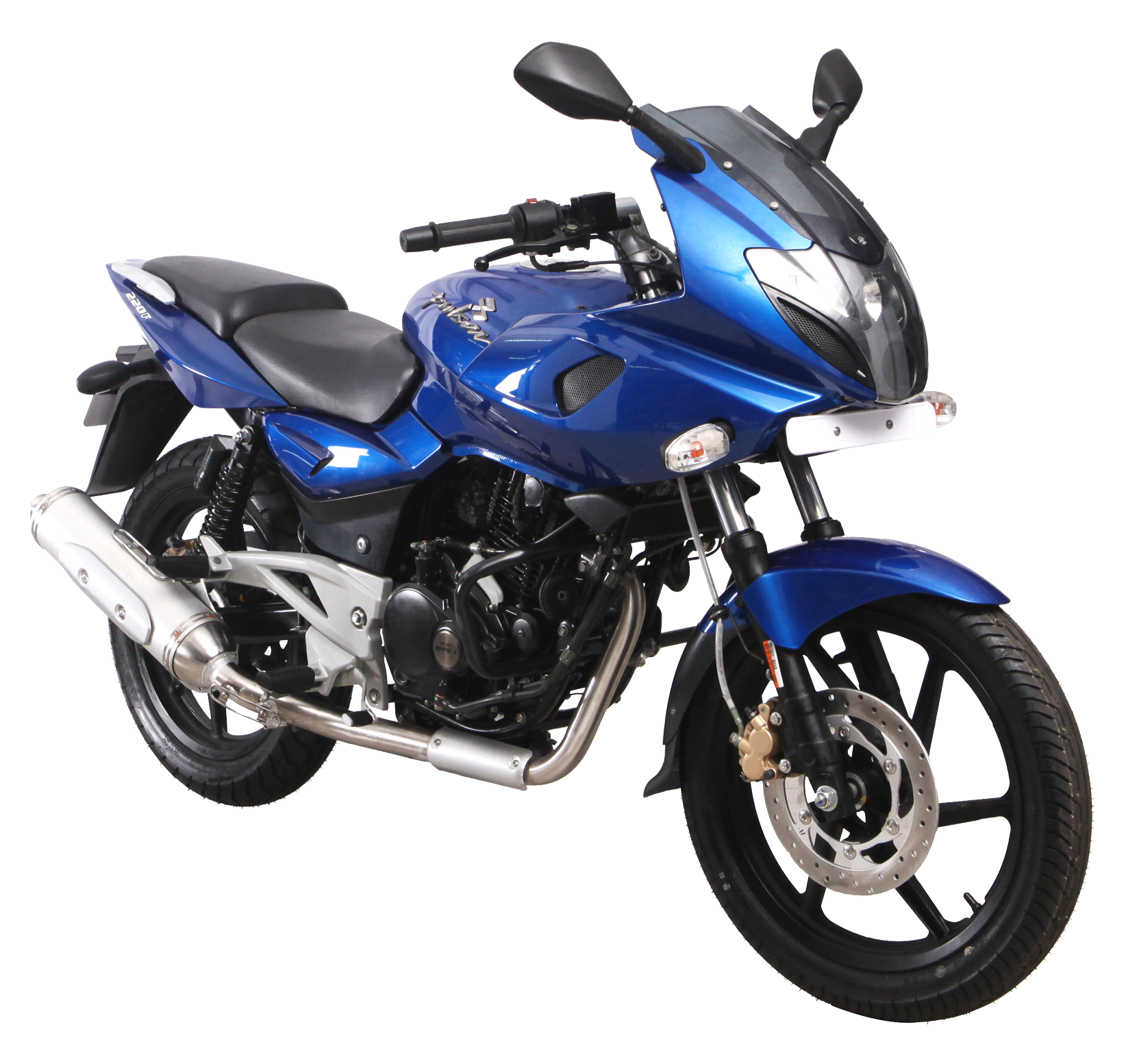 Blue Bajaj Pulsar 220F Motorcycle Bike PNG Image.