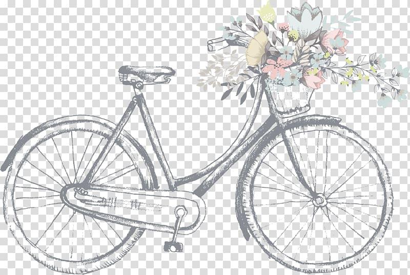 Light gray painted line art illustration bike transparent.