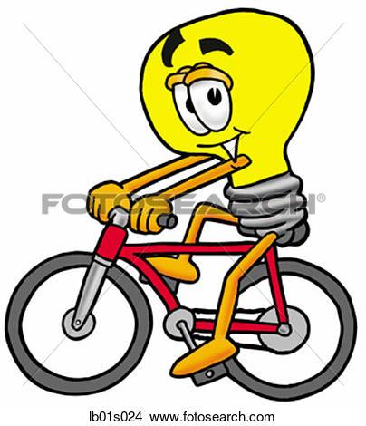 Clipart of Light bulb riding bike lb01s024.