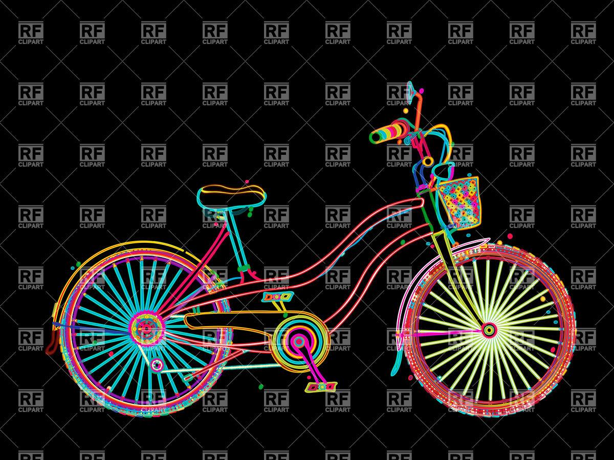 Retro ladies' bicycle in neon lights Vector Image #6674.