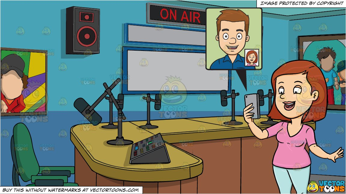 A Woman Chats And Video Calls Her Boyfriend and A Radio Station Studio Room  Background.
