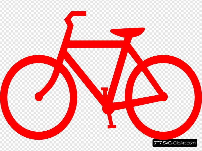 Red Bicycle Outline Clip art, Icon and SVG.