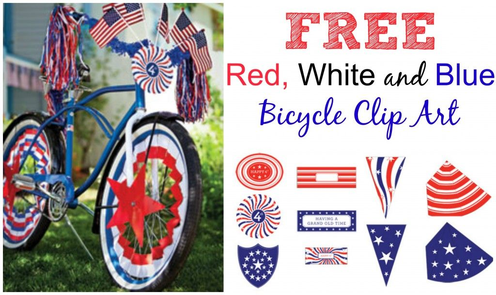 FREE Fourth of July Bike Clip Art from Martha Stewart.