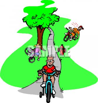 Royalty Free Clip Art Image: Kids Learning to Ride Bikes in the Park.